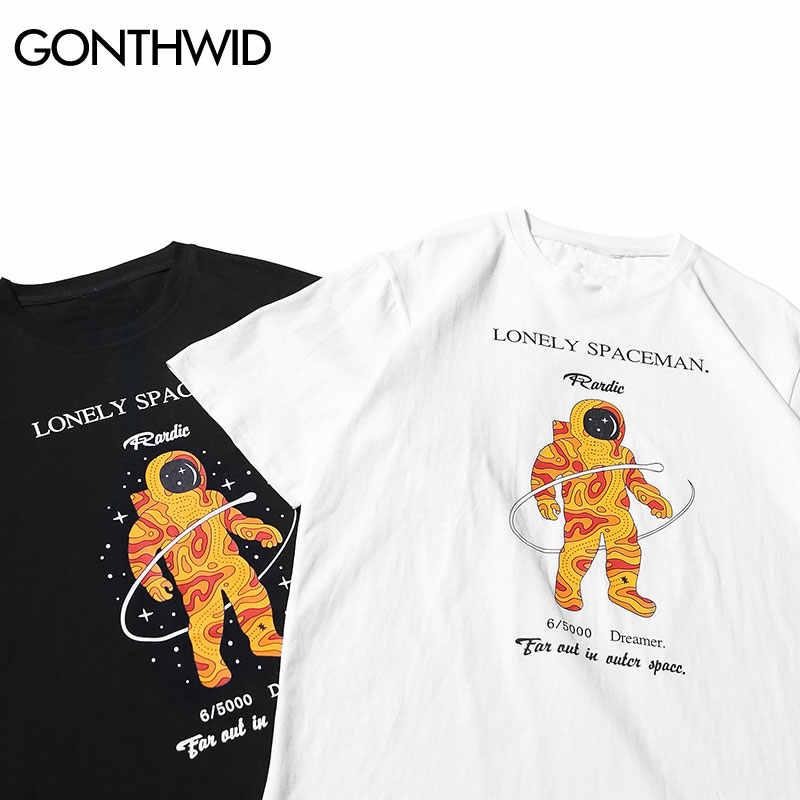 GONTHWID 孤独宇宙飛行士プリント Tシャツ男性原宿カジュアル盗品 Tシャツストリート男性ファッションヒップホップ半袖トップス