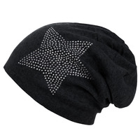 Women Fashion Star Pattern Autumn Winter Caps Soft Cotton Knitted Slouchy Baggy Unisex Skullies Beanies Hat