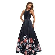 Heißer Verkauf Schwarz Gedruckt Promkleider 2017 Sleeveless A-Line Satin lange Abendgesellschaft Kleid Backless vestido de festa robe de bal