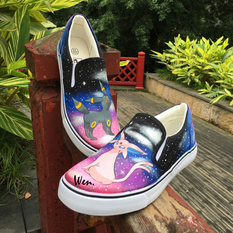 Wen Hand Painted Shoes Anime Design Custom Pokemon Umbreon Espeon Men Women's Slip On Canvas Shoes for Christmas Birthday Gifts