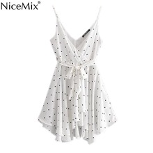NiceMix Vintage Sexy Polka Dot Sashes Strap Mini Jumpsuits Womenn 2019 V Neck Sleeveless Backless Ladies Rompers Casual Vesti