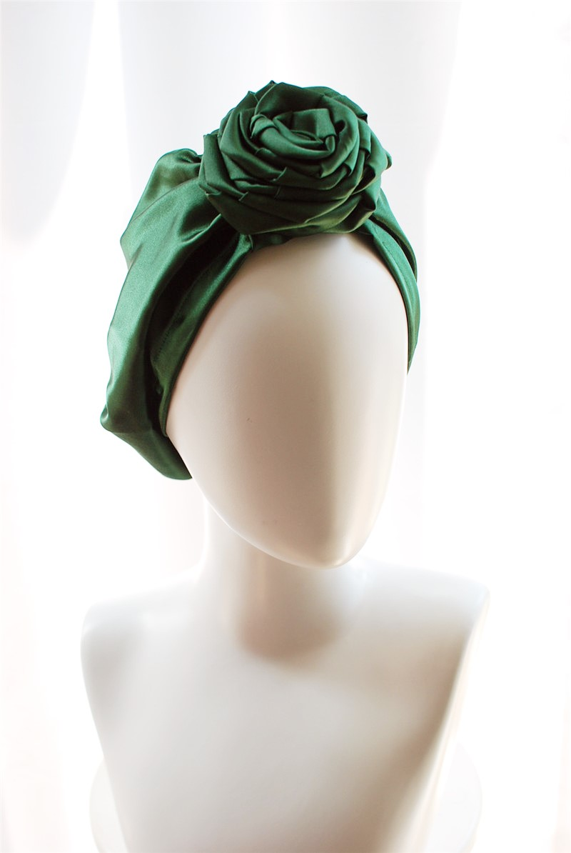 Women Hair Accessory Emerald Lustre Imitated Silk Turbano Ladies Elegant Hair Accessories Fashion Solid Flower Headband 2018 New