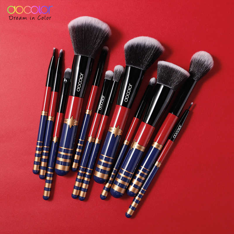 Docolor 12 Stuks Make-Up Kwasten Set Cosmetische Foundation Poeder Blush Oogschaduw Lip Blend Make Up Brush Tool Kit Maquiagem