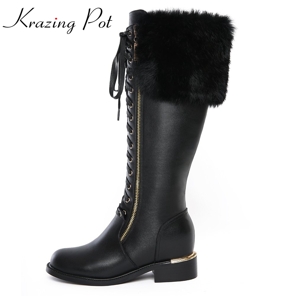 Krazing Pot 2018 genuine leather shoes women med heels rabbit fur sollid big size zipper round toe lace up knee high boots L8f5 цены онлайн