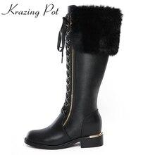 Krazing Olla 2018 zapatos de cuero genuinos de las mujeres med zapatos de tacón de piel de conejo sollid tamaño grande de la cremallera punta redonda lace up rodilla botas altas L8f5
