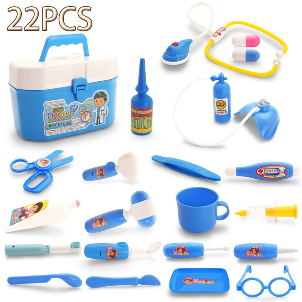 OCDAY 22pcs Doctor Play Toys Set Children Role Play Medical Kit Baby Educational Box Pretend Play Gift Simulation Hospital Toys