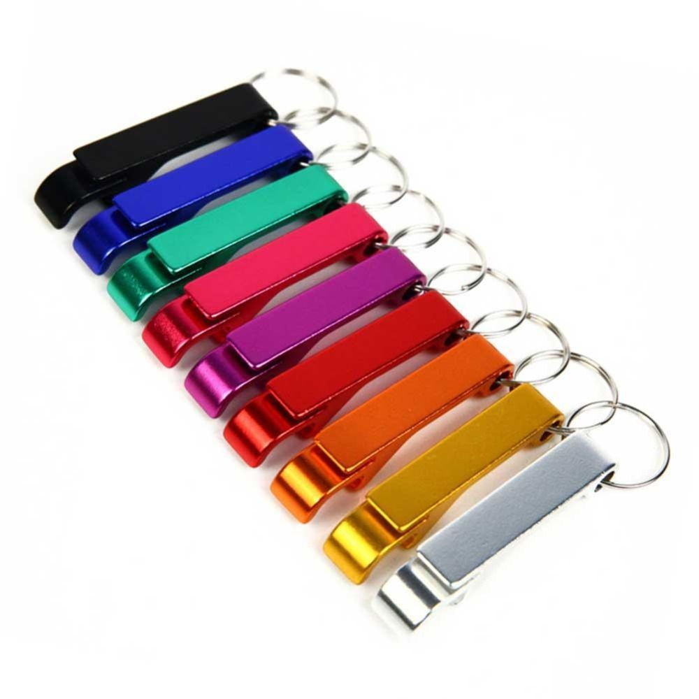3PCS Beer Bottle Opener Keychain 4 In 1 Pocket Aluminum Beer Bottle Opener Can 6 Colors Wedding Favor Gifts Free Shipping