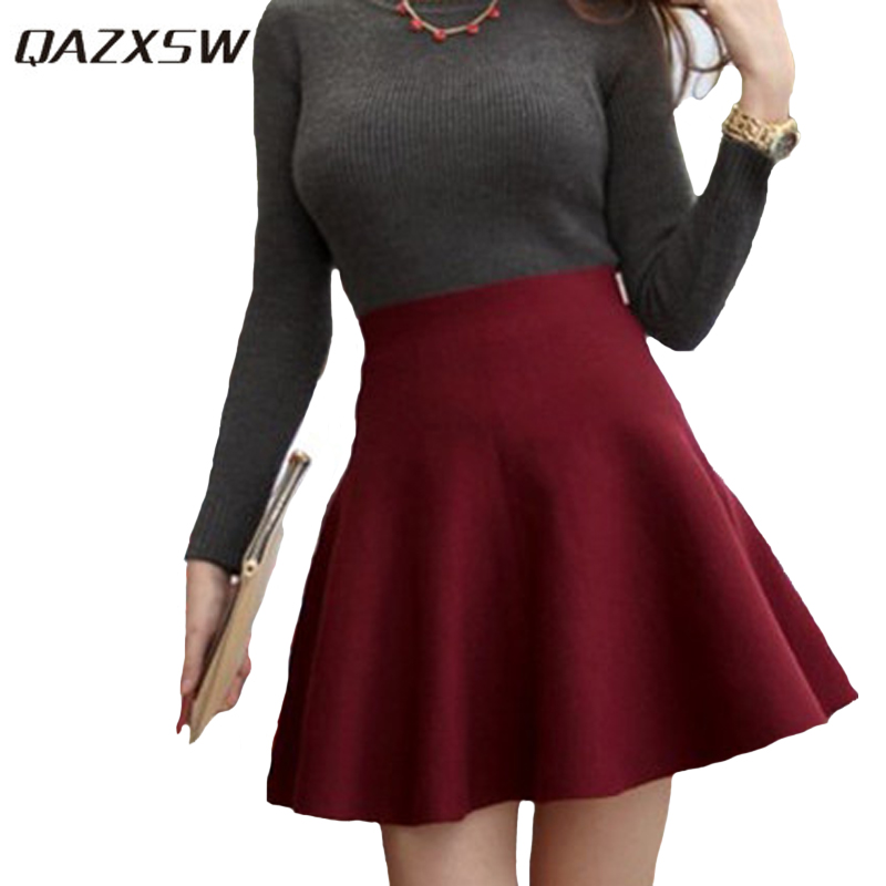 QAZXSW Spring Summer Casual Sexy Women Mini Skirt High Waisted Flared Pleated Jersey Plain Short Knitted Elastic Skirt YX166 kleider weit