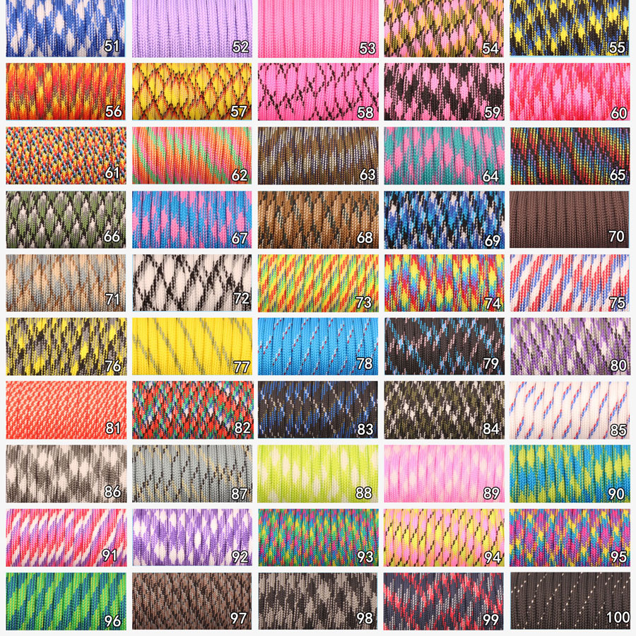 Sports & Entertainment ... Camping & Hiking ... 684422073 ... 3 ... CAMPINGSKY 550 Paracord Parachute Cord Lanyard Tent Rope Mil Spec Type III 7 Strand 100FT Paracord For Hiking Camping 200 Colors ...