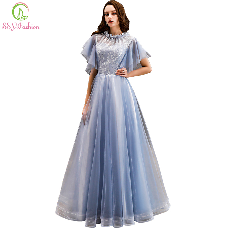 SSYFashion New   Bridesmaid     Dresses   Light Blue Floor-length Soft Lace with Tulle Prom Party Gown Custom Made Formal   Dresses