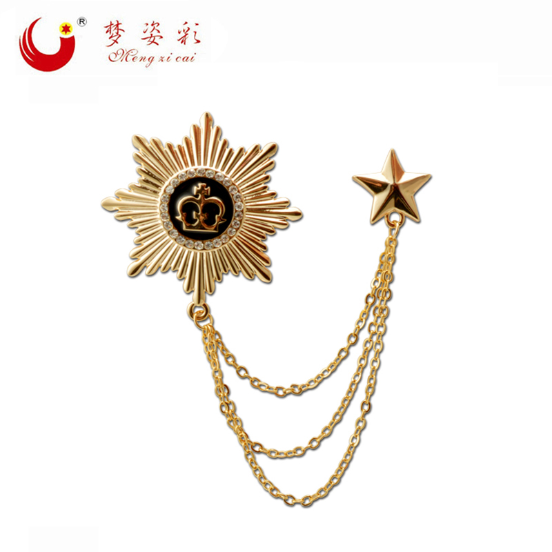 Double Luxury Gold Octagon Crown Broach Homme Party Star Lapel Pin Male Suit Link Brooch Chain for Garment Men Broche Accessies