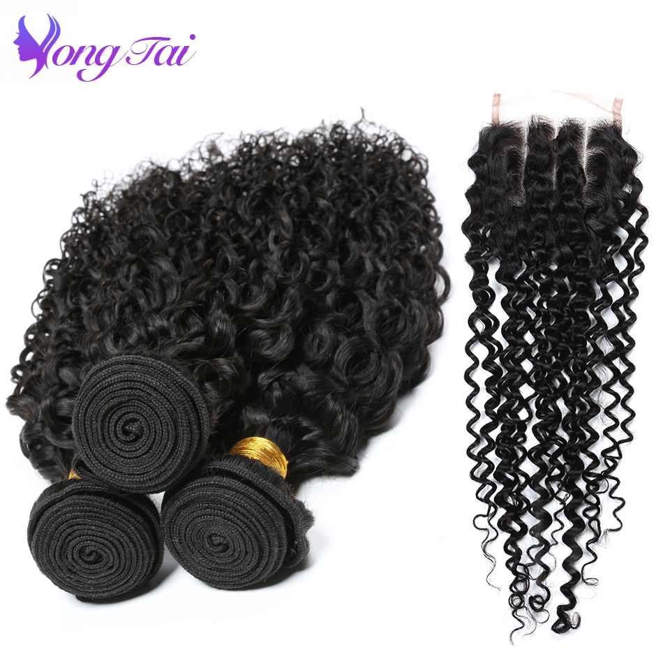 kinky curly hair Raw indian hair Afro Kinky Curly hair 3 bundles with closure Yongtai non remy human hair bundles with closure