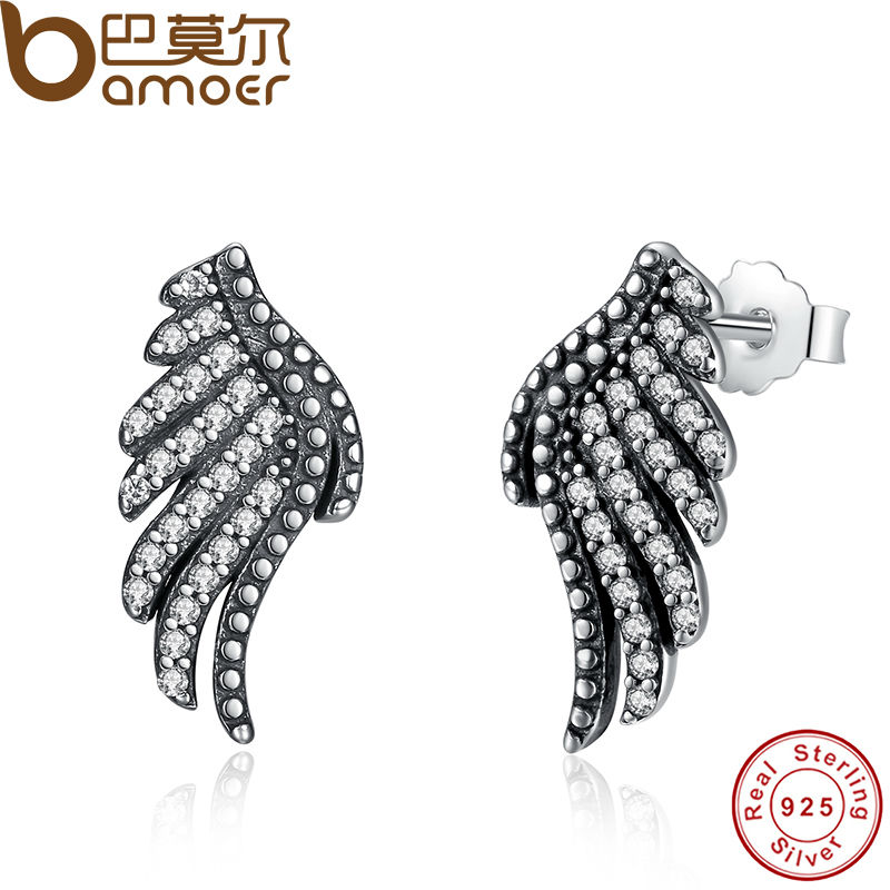 BAMOER Authentic 100 925 Sterling Silver Majestic Feathers Phoenix Wing Stud Earrings With White Clear CZ