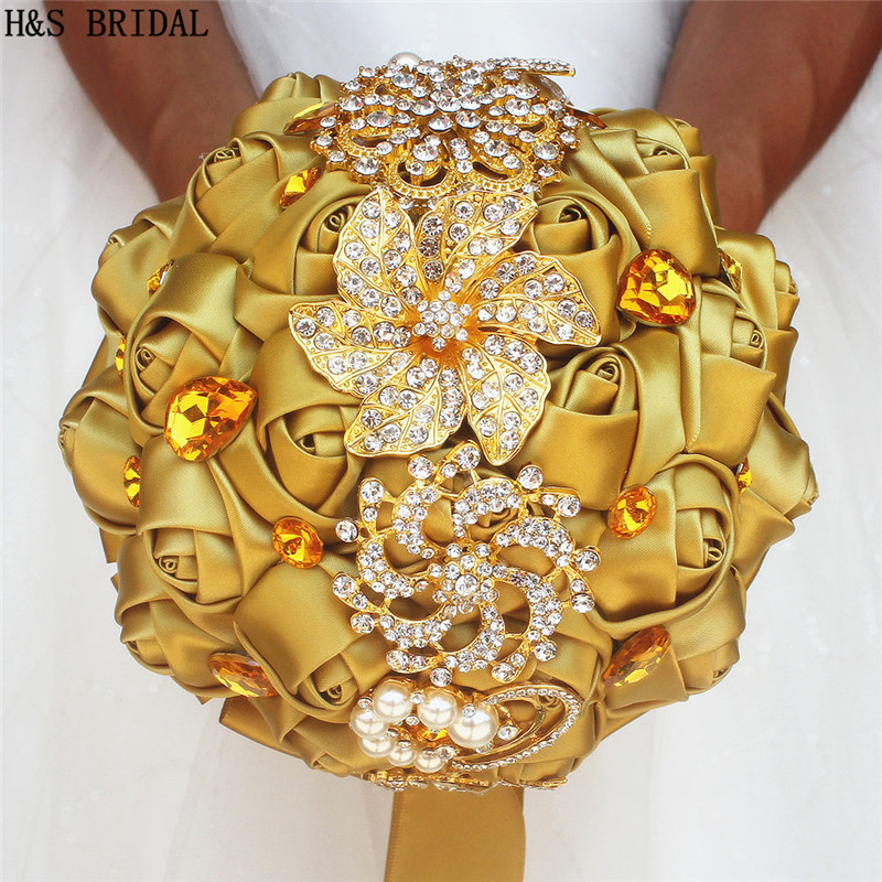 LOVELY Gold Wedding Flower Luxury Crystal Rhinestone Wedding Bouquet With Sequins Artificial Rose Hand Made Rose Hot Sale