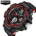 SANDA роскошные мужчины женщины черный водонепроницаемый моды g вскользь шок военная кварц цифровой светодиодный спортивные часы relógio наручные часы