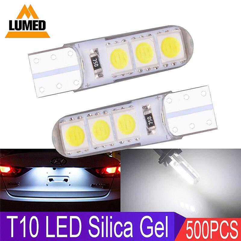 500x Car LED Auto Silica Gel T10 LEDs 194 W5W 168 6 SMD 5050 LED Car
