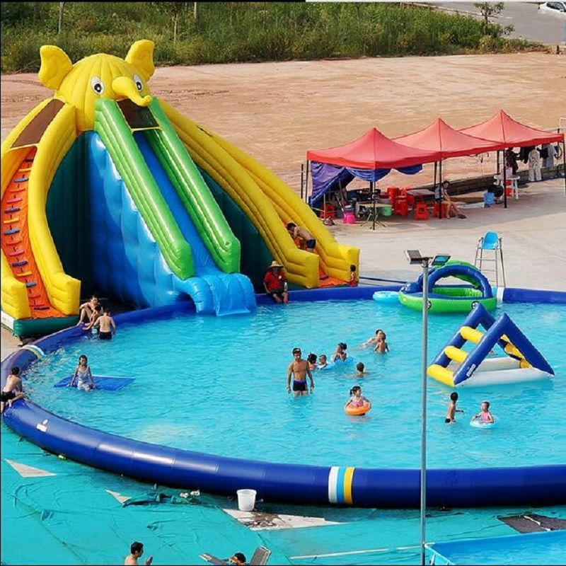 Inflatable elephant swimming pool water pool water fun slide PVC pool combination inflatable water slide pool