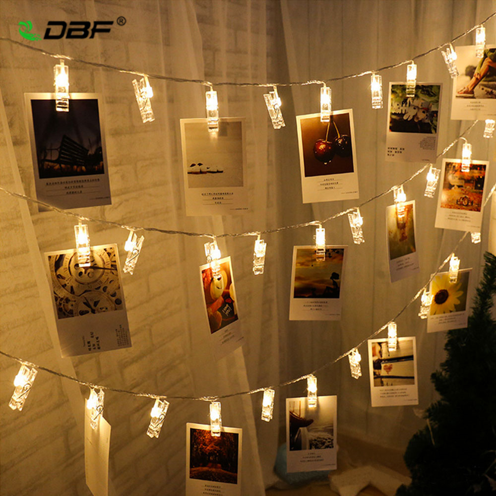 [DBF]3M 20LED Photo Clip Holder LED String Lights For Christmas New Year Party Wedding Home Decoration Fairy Lights Battery