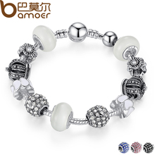 BAMOER Silver Charm Bracelet & Bangle with Royal Crown Charm and Crystal Ball White Beads for Women Drop Shipping PA1456(China)