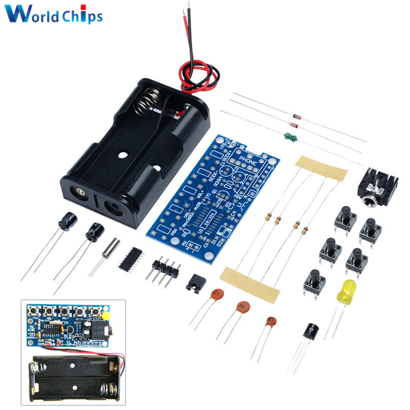 US $1 17 17% OFF|76MHz 108MHz Wireless Stereo FM Radio Kit Audio Receiver  PCB FM Module Kits Learning Electronics For Diy DC 1 8V 3 6V-in Integrated