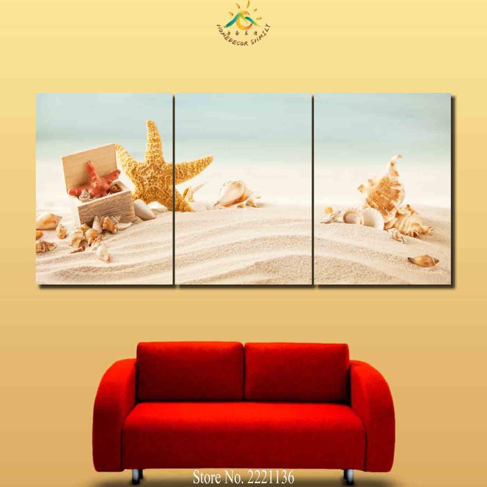 3 4 5 Pieces Seaside Jellyfish Starfish Modern Wall Art Canvas ...
