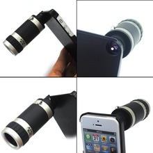 Optical 8X Zoom Mobile Cell Phone Telescope Camera Lens+Case For iPhone 5 5S 8X Zoom lens 8x zoom telescope lens w back transparent case for samsung galaxy s3 9300 black silver