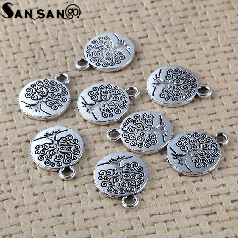 Pack of 10 Tibetan Silver Round Tree of Life charms Buddhist  15 mm