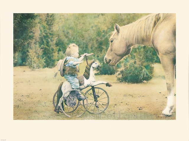 Hot Sale Printed Painting Kid Play with Horse Wall Artwork Spray ...