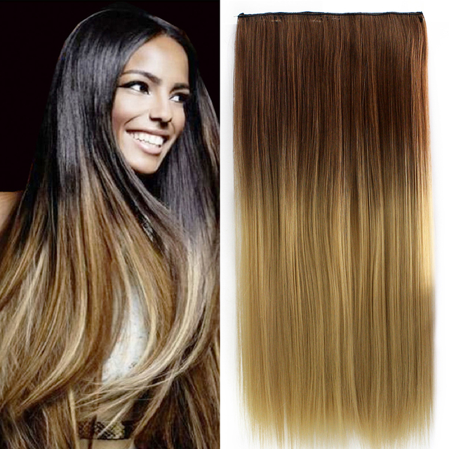 24 inch 60cm clip in extension long dip dye ombre hair weft hair Blonde Clip in Hair Extensions Blonde Ombre Extensions