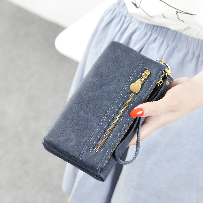 New Arrival Women Dull  Polish Zipper Wallet Multifunctional Purse  Huge Capacity Simple Color Retro Long Style Closure Money Ba new arrival button wallet lady multifunctional purse long style zipper hasp oil wax cowhide closure huge capacity fashion han