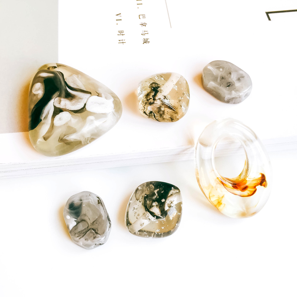 ZEROUP Irregular Resin Beads Pendant Accessories Necklace Charms Jewelry Accessories Components Diy Material 6pcs