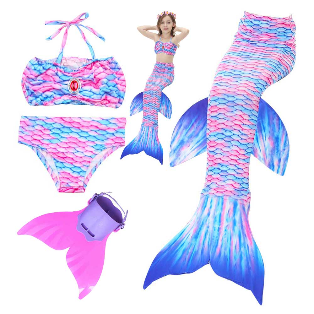 Mermaid Tail Swimsuit Swimmable Bikini Set Swimwear For Girl Princess Swimmable Mermaid Tail Cosplay Costume