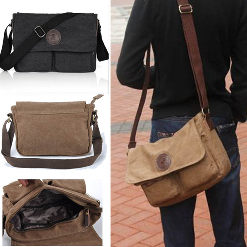 Men Vintage Style Canvas Leather Satchel School Bags Military Shoulder Messenger Bag Fashion Crossbody In From Luggage On