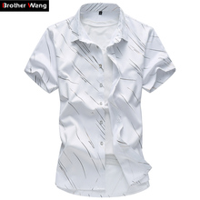 Men's Shirt Short-Sleeve Casual-Print Fashion 5XL Summer New Male 6XL 7XL Large-Size
