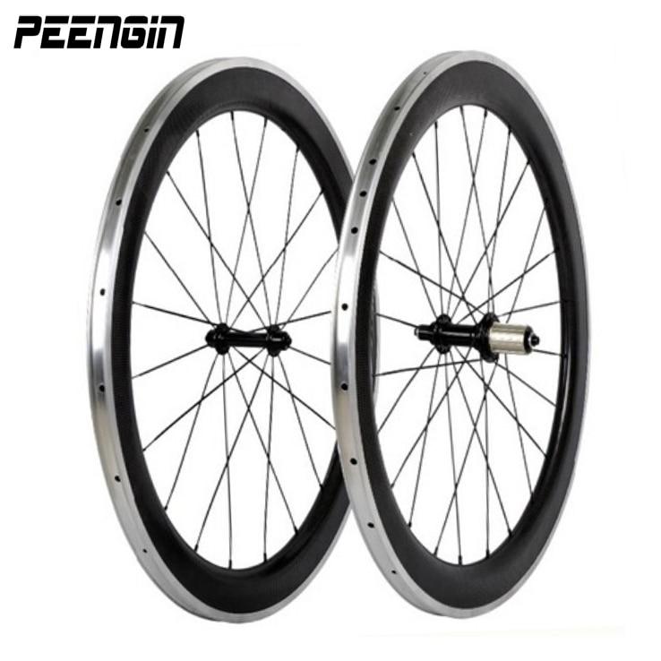 carbon wheelset aluminium 700c bike wheels clincher 60mm light weight performance alu wheel v brake suface hot sell to Singapore ironfix 568 60 700