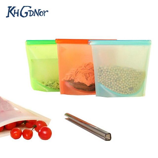 Khgdnor Reusable Freezer Bags Food Fresh Keeping Sealing Fridge Storage Organizer Kitchen Vacuum