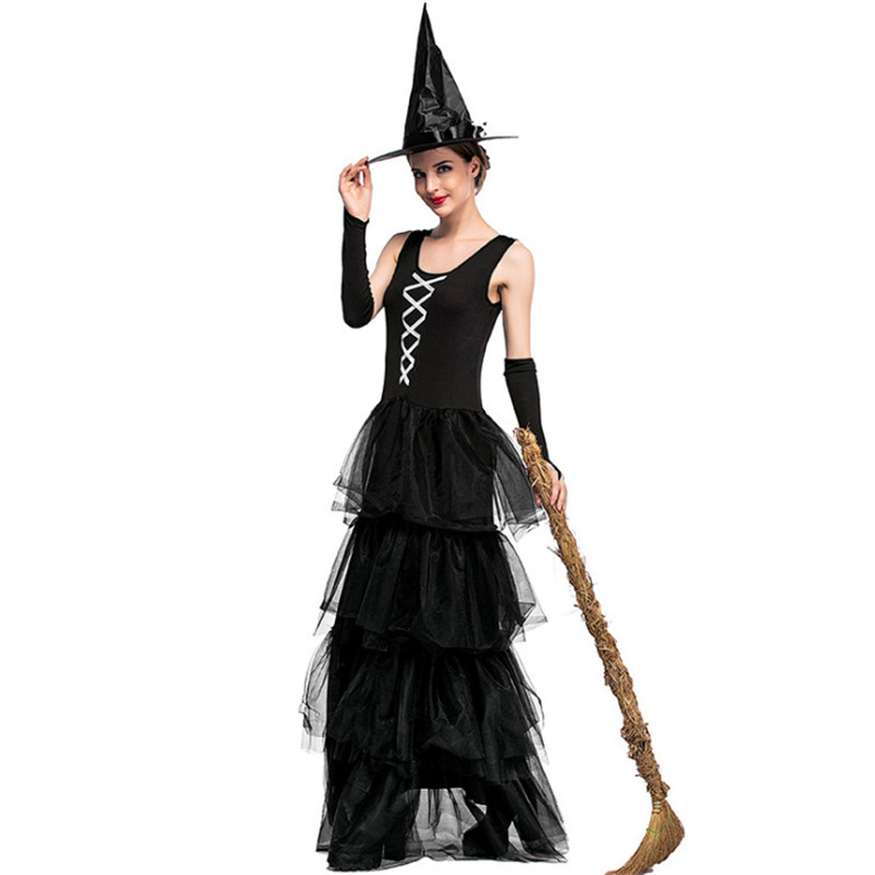 new Halloween Adult Witch Black sleeveless fluffy cake dress Masquerade Party magician DS Sexy evil black queen cosplay clothing