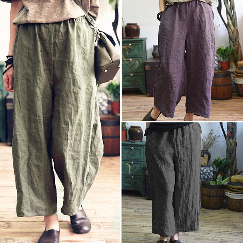 Women   Pants   2019 Spring Summer High Waist   Wide     Leg     Pants   Casual Loose Corduroy Cropped Trousers Big Size 5xl 4xl Grey