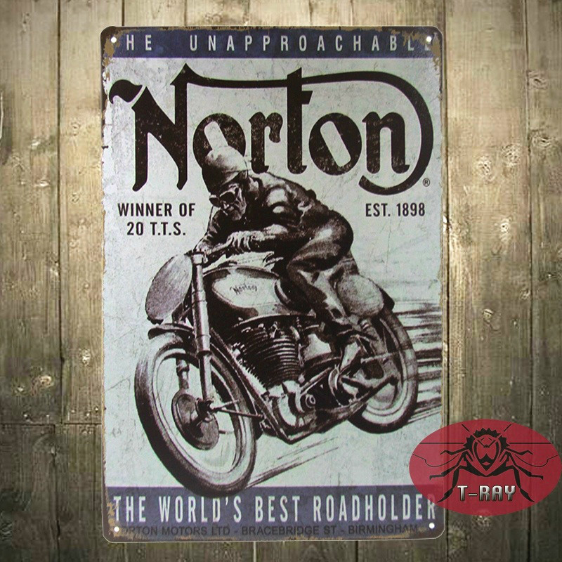 T Ray Vintage Home Decor Norton Motorcycle Plaque Art Wall