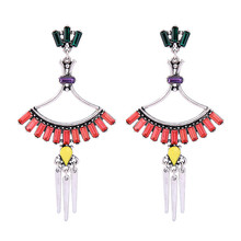 European and American style nightclubs earrings ladies bohemia jewelry tassel Colorful mosaic drill gem alloy