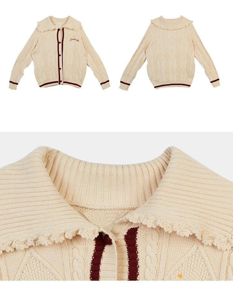Coton Doux Hiver Longues Chandail Broderie Pour 2017 Automne Manteau Conception Chaud Épais Qualité Haute Cardigan Femmes Marque Beige Manches Tricot AtwzqdwrC