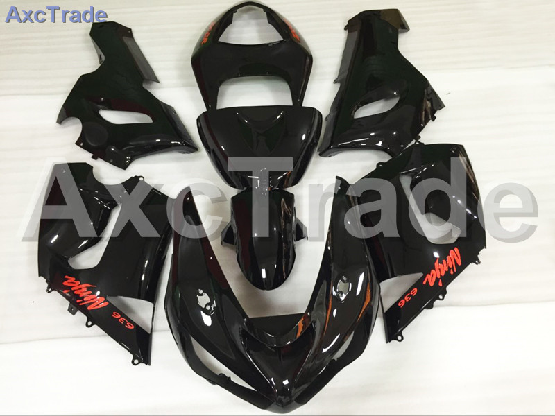 Motorcycle Fairings Kits For Kawasaki Ninja ZX6R 636 ZX-6R 2005 2006 ABS Plastic Injection Fairing Bodywork Kit Black A665 abs full fairing kit for kawasaki zx10r 2006 2007 red flames in black plastic fairings set ninja zx 10r 06 07 body kits zs26