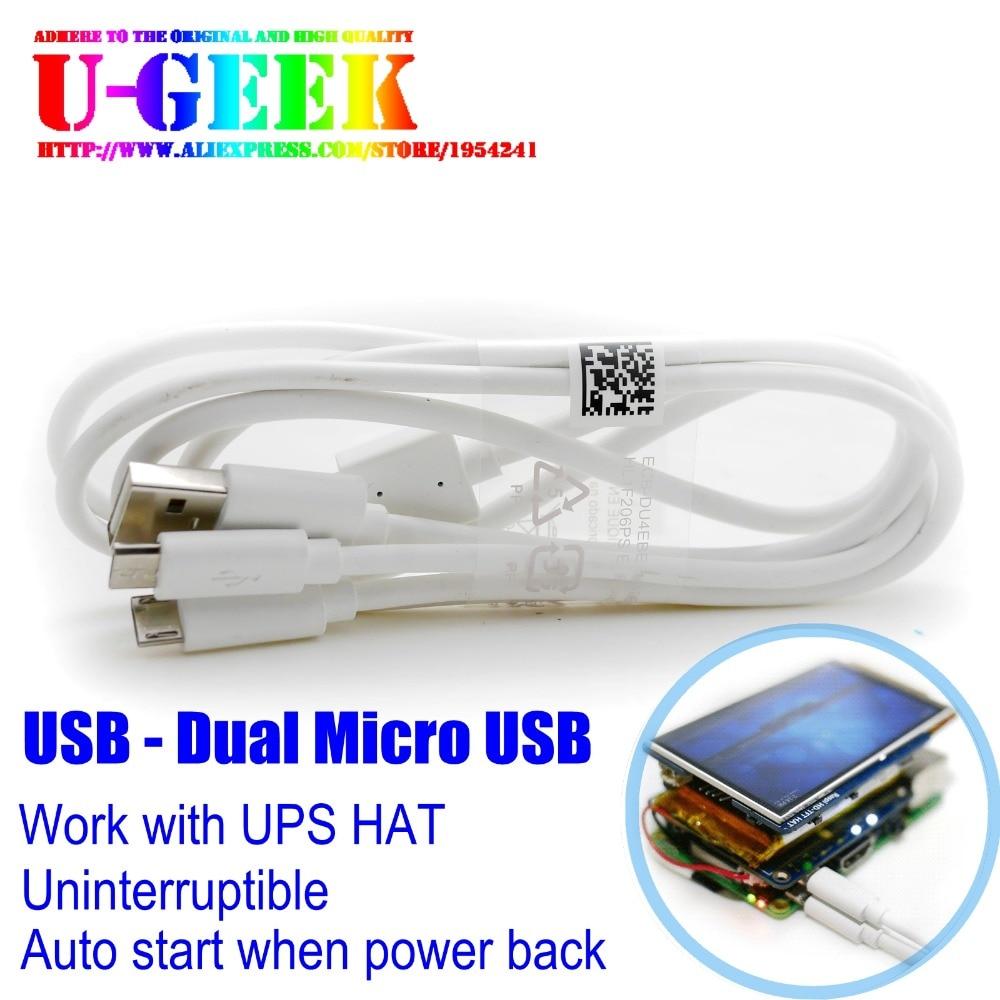UGEEK un USB à deux micro USB de charge câble pour Raspberry Pi | Pour UGEEK UPS CHAPEAU | D'alimentation Sans Coupure fournir