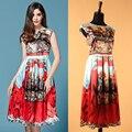 S-XXXL Estilo Siciliano Que Restaura Maneras Antiguas Samurai Impreso Vestido de Las Mujeres La Nueva Primavera/verano 2015 de la Pista Se Ve moda