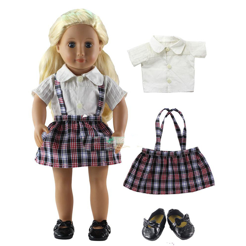 3in1 Set American Girl Doll Clothes of White T shirt+Plaid Skirt+Black Shoes for 18 American Girl Doll Fashion Doll Clothes Set ...