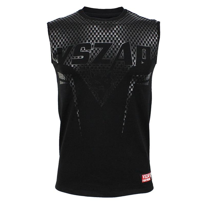 Black VSZAP SHARP Tank Top MMA Men's Singlet Vest Gym Muay Thai Men T-shirt Cotton