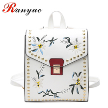 RANYUE Floral Backpack Women Leather 2017 National Embroidery Backpacks Women Rivet School Bag For Teenagers Girls