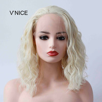 Glueless Platinum Blonde Lace Front Wig Wavy Short Light Blonde Bob Wigs for Women Half Hand Tied Repalcement Hair Wig 14 Inches