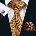 FA-988 Barry. Wang Lazos de Los Hombres de Amarillo Paisley de Seda Jacquard Corbata Corbatas Hanky Gemelos Set Regalo del Negocio de Los Hombres para Los Hombres Envío Gratis