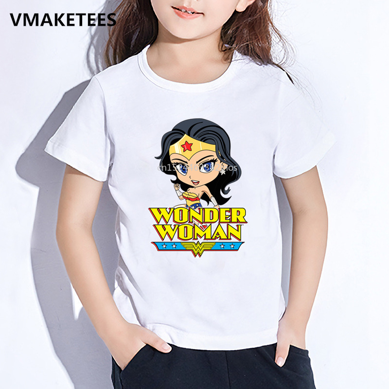 Girls  Boys Summer Short Sleeve T Shirt Kids Wonder Woman -4839